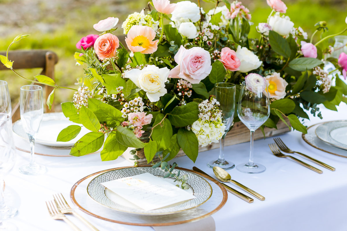 Organically grown farm flowers for wedding table centerpieces.
