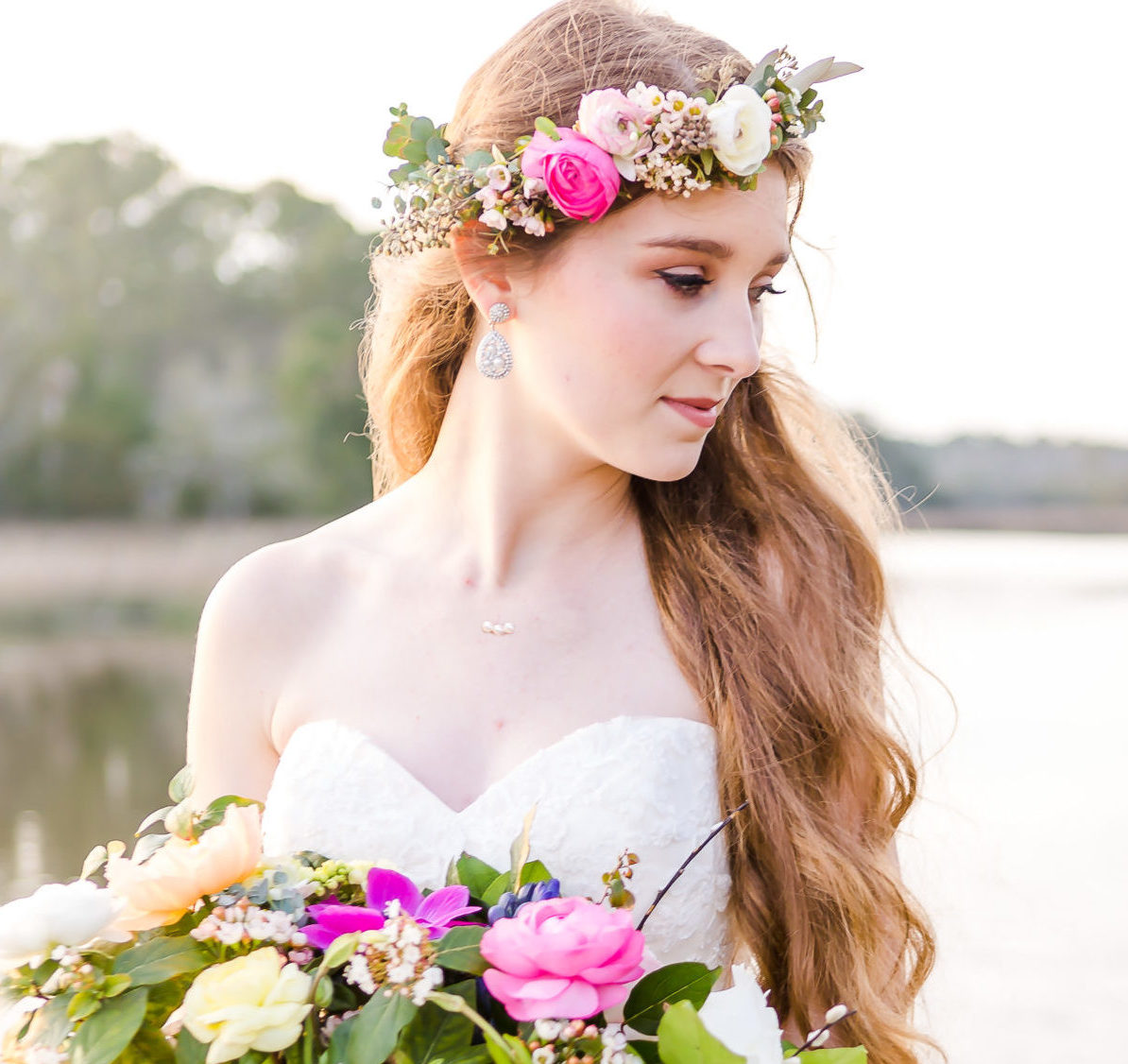 Farm grown bridal bouquet and flower crown